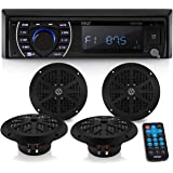 Marine Head Unit Receiver Speaker Kit - In-Dash LCD Digital Stereo Built-in Bluetooth & Microphone w/ AM FM Radio System 6.5'
