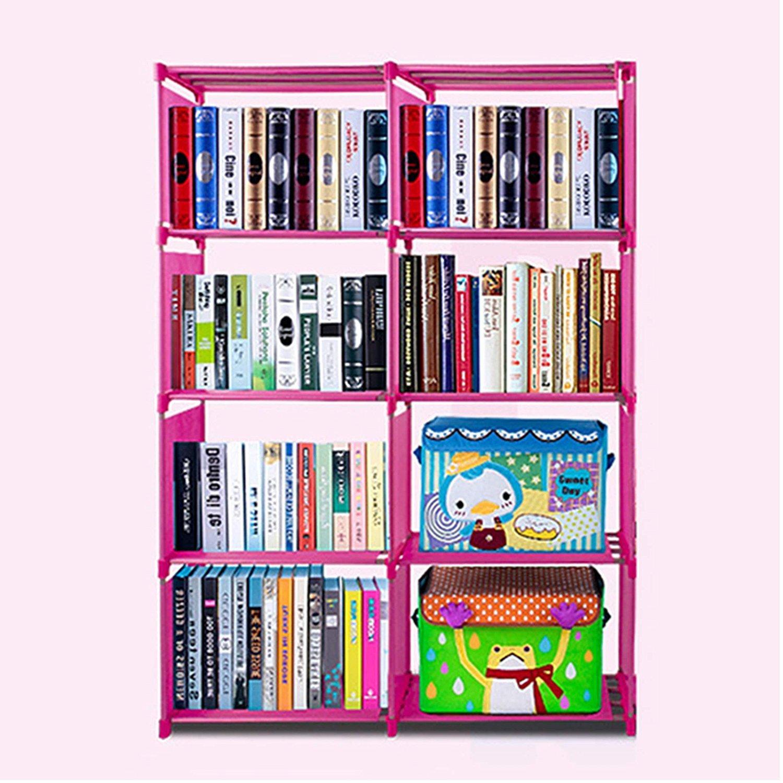 Opuko Home Adjustable Book Toy Storage Shelf Organizer 4-Tier 9 Shelves for Child Kid (Pink 8-Shelf)