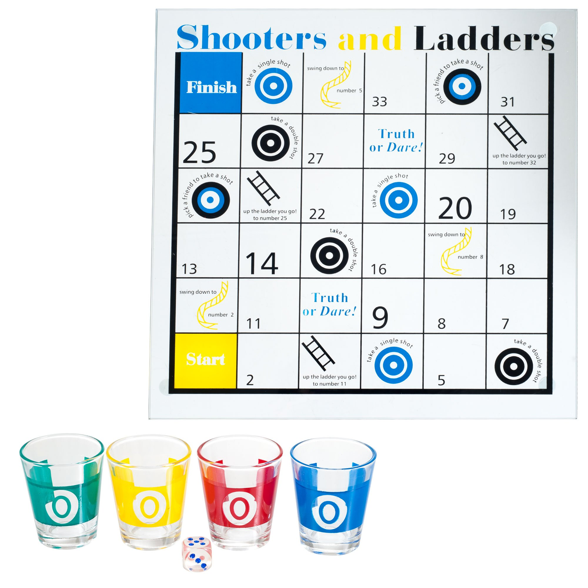 TMG Shooters & Ladders Drinking Game Set - Includes Bonus Deck of Cards!