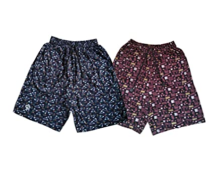 Bumchums Mercerised Multicolor Printed Shorts Set of 2 Men's Shorts at amazon