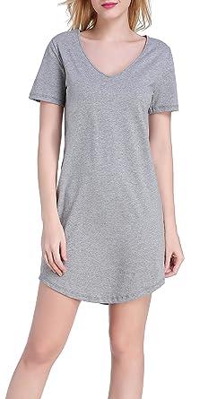 b1718004df Chamllymers Women s Nightgown Soft Cotton Nightwear Short Sleeve Sleepwear  Grey S
