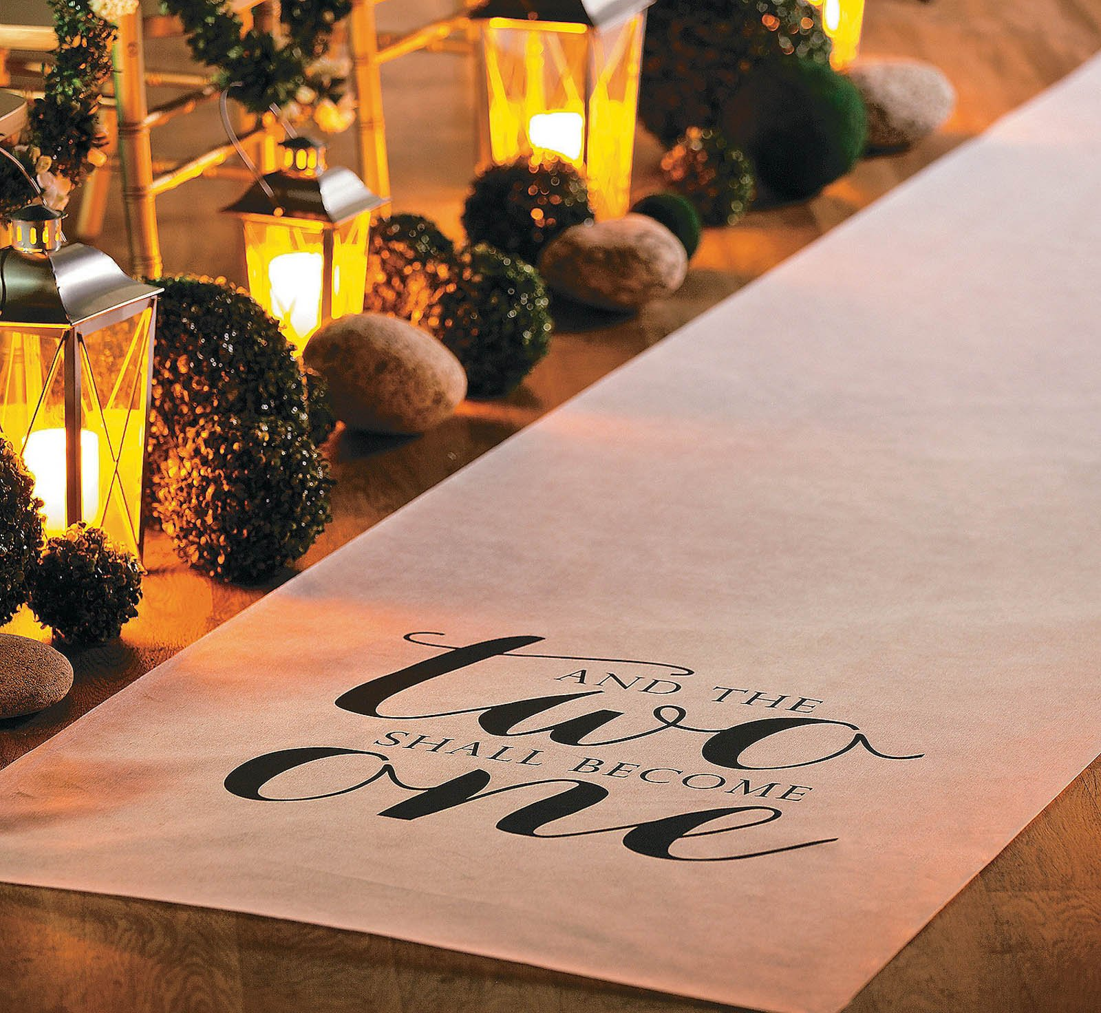 100 FT WHITE And The TWO SHALL BECOME ONE Wedding AISLE RUNNER Long Bridal