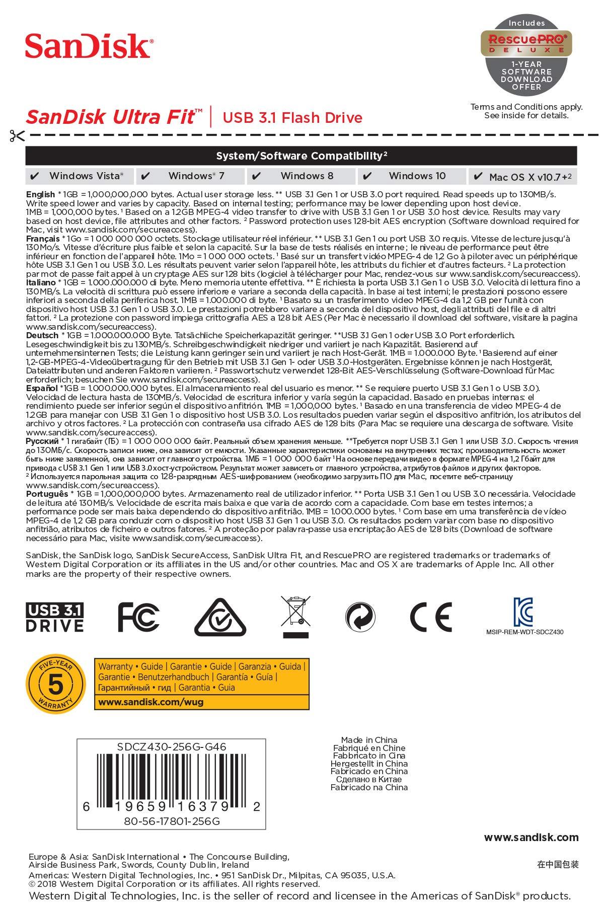 SanDisk 256GB Ultra Fit USB 3.1 Flash Drive - SDCZ430-256G-G46 by SanDisk (Image #6)