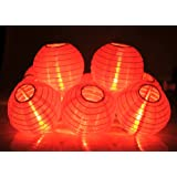 """KI Store Chinese Red Lantern String Lights Set of 10 Extendable Plug-in Oriental Style 4"""" Lanterns with Lights for Chinese New Year Weddings Parties Bedroom Decoration (Red)"""