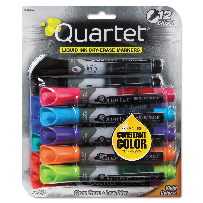 Quartet 500120M EnduraGlide Dry Erase Marker, Chisel Tip, Assorted Colors, 12/Set