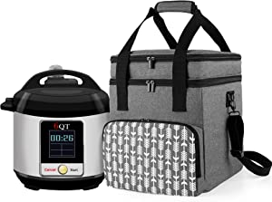 YARWO Carrying Bag Compatible with Instant Pot 6 Quart, Pressure Cooker Travel Tote Bag with Pockets for Kitchen Accessories, Gray with Arrow (PATENTED DESIGN)