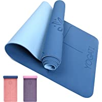 YOGATI – milieuvriendelijke yogamat - TPE, non-slip en dikke yogamat. Yoga Matten met Body Alignment Lines. Perfect…
