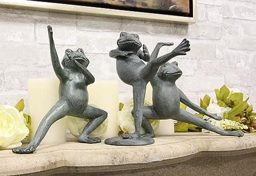 Ebros Gift Verdi Green Aluminum Metal Whimsical Tai Chi Kung Fu Frog Garden Statue Zen Feng Shui Martial Arts Frogs Home Garden Patio Pool Decorative Sculpture Set of 3 Stances