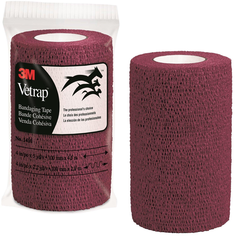 Burgundy, 3 Rolls 3M Vetrap 4 Bold Color Bandaging Tape 4 x 5 Yards