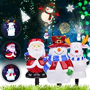 TAOPE Christmas Lights Outdoor, 3 in 1 Christmas Decorations LED Lights Outdoor Waterproof, 2020 Snowman Santa Reindeer Christmas Decorations Ornament for Patio, Yard, Lawn