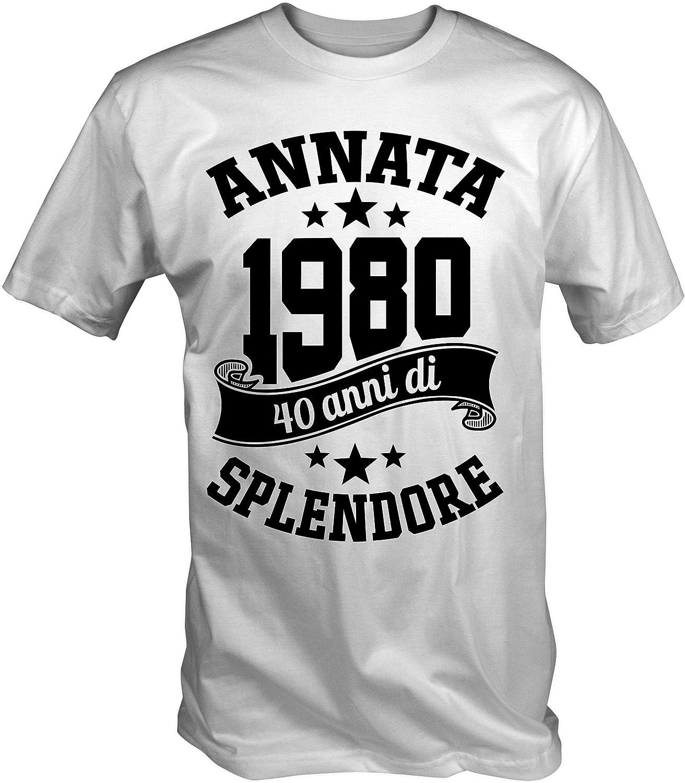 6TN Camiseta para Hombre en Lengua Italiana Fabricada en 1980 40 años de Vida, Maravillosa para el 40 cumpleaños Blanco S: Amazon.es: Ropa y accesorios