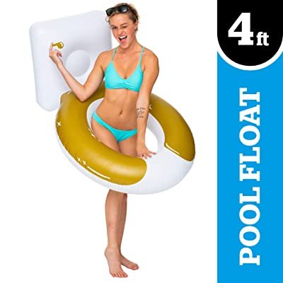 "BigMouth Inc. Golden Toilet Pool Float, Thick Vinyl Raft, Holds 200 Pounds and Includes Patch Kit 48: x 48"": Toys & Games"