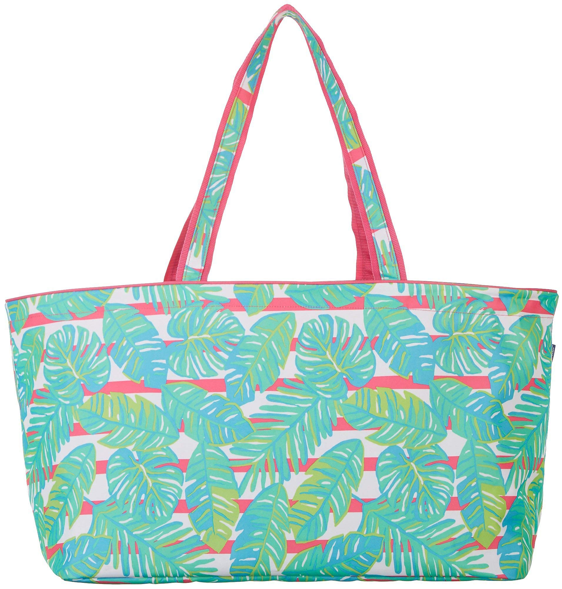 Tackle & Tides Palm Leaves Ultimate Tote One Size Green/Pink/White