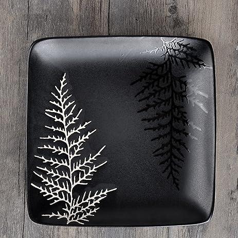 UUOUU Ceramic Steak Plates 8 inch Black Restaurant Dishes Western-style Square Dinner Plate Pine & Amazon.com | UUOUU Ceramic Steak Plates 8 inch Black Restaurant ...