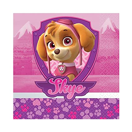 Girl Pups Paw Patrol 16 Pack Beverage Dessert Napkins Birthday Party Supplies Skye Everest
