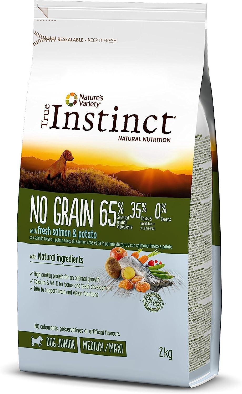 True Instinct No Grain - Nature's Variety - Pienso sin Cereales para Perro Junior Medium-Maxi con Salmón - 2kg