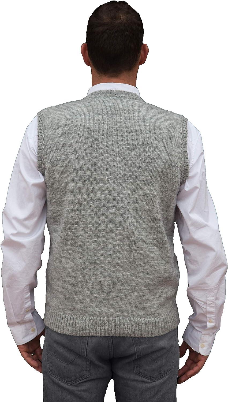 Gray Peruvian Alpaca Wool Vest for Men Basic V Neck Sweater Pullover TINKUY PERU