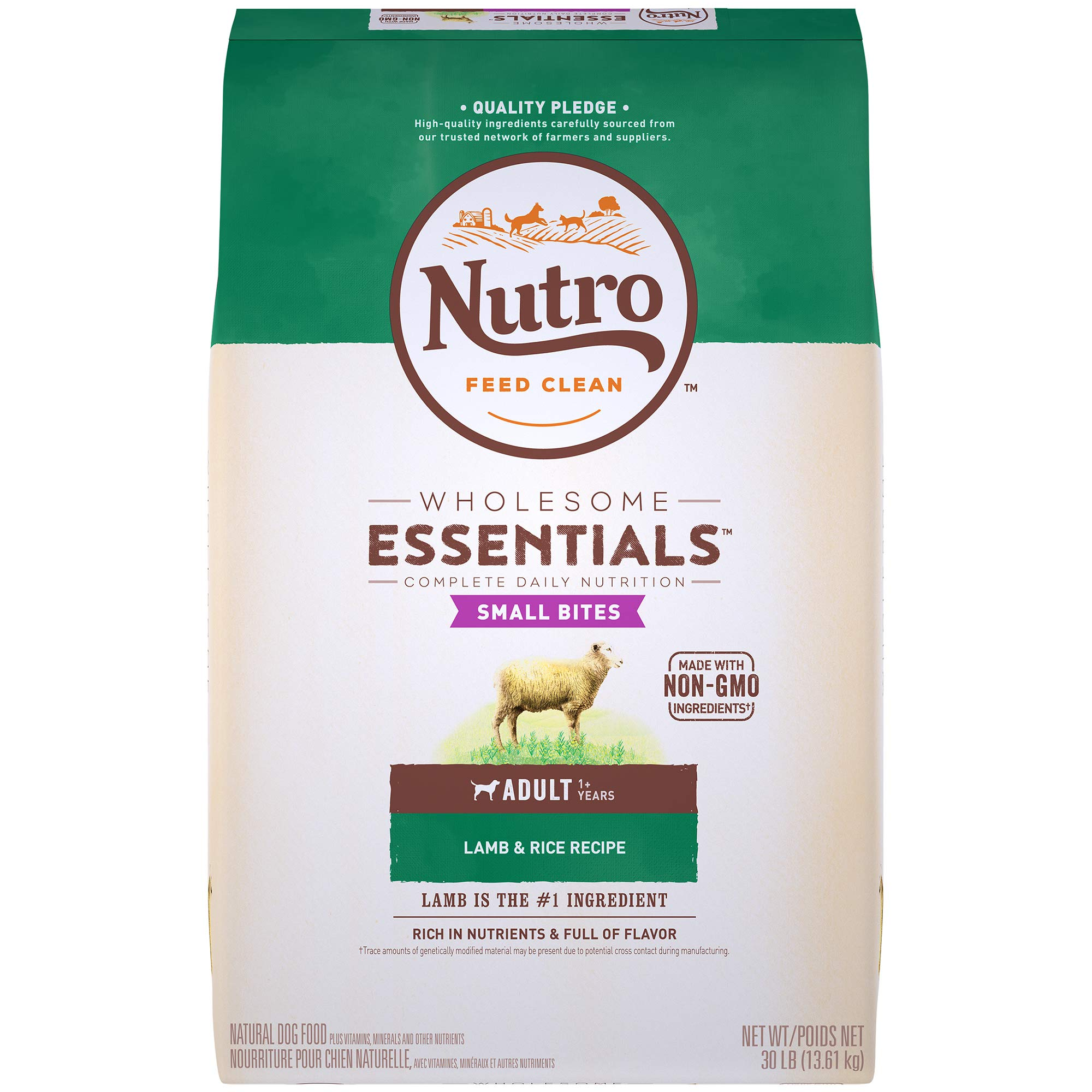NUTRO WHOLESOME ESSENTIALS Natural Adult Dry Dog Food Small Bites Pasture-Fed Lamb & Rice Recipe, 30 lb. Bag by Nutro