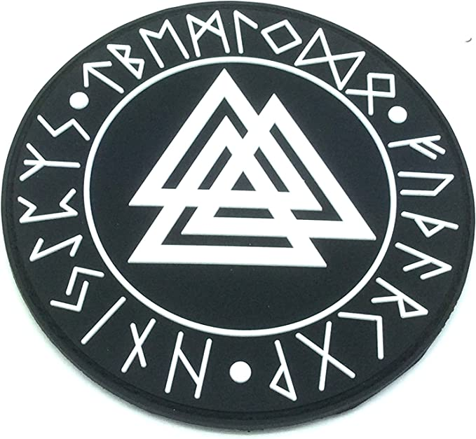 Aegishjalmr Viking Helm of Awe Terror Protection Norse Rune Wikinger Morale Patch PVC Airsoft Paintball Klett Emblem Abzeichen