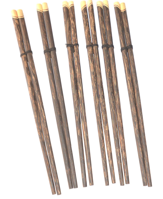 6 pares Palmwood tallada a mano tailandés chino Oriental palillos: Amazon.es: Hogar