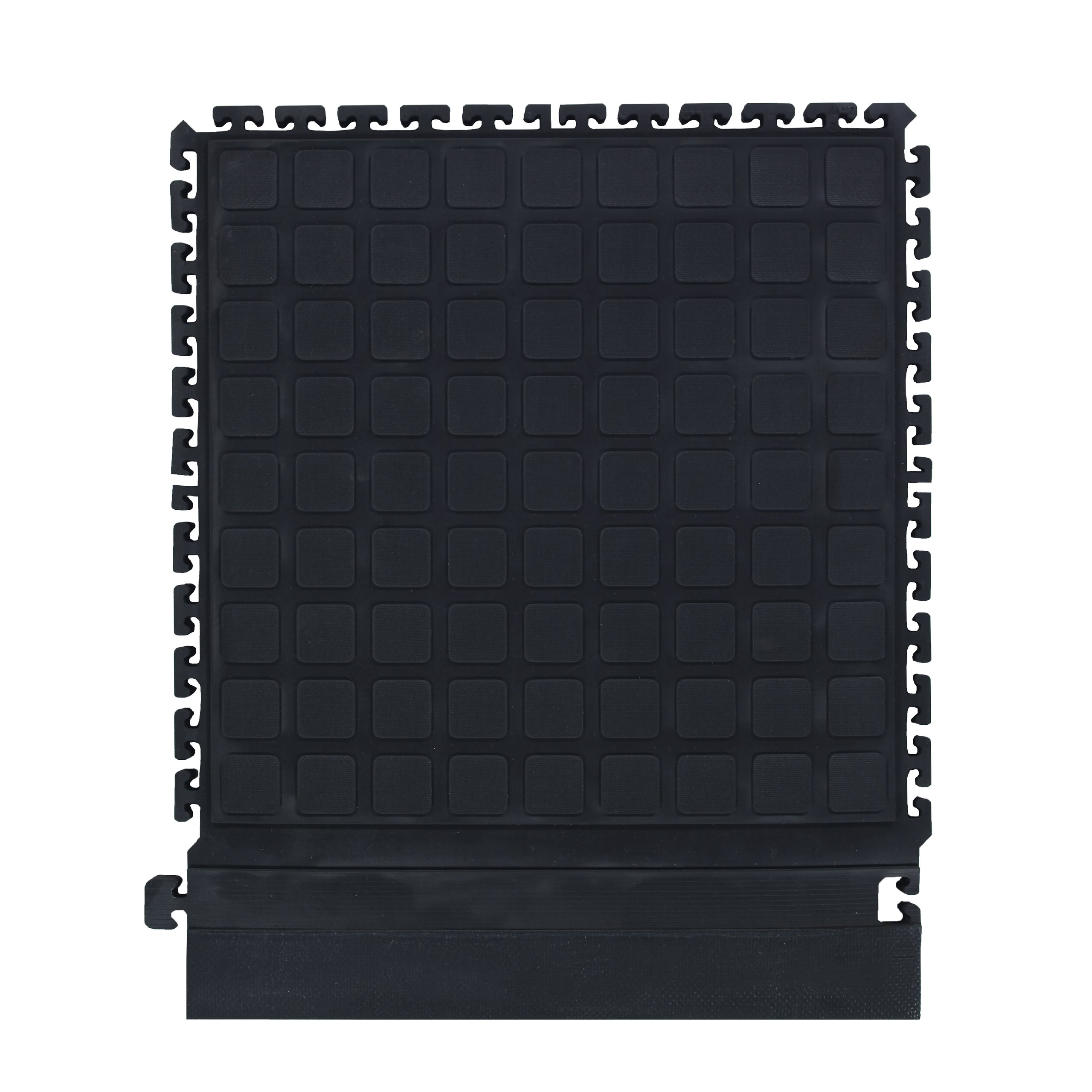 M+A Matting 522 Nitrile Rubber Hog Heaven Modular Tile II with Black Strip Side Border, 21.87'' Length x 18'' Width x 3/4'' Thick