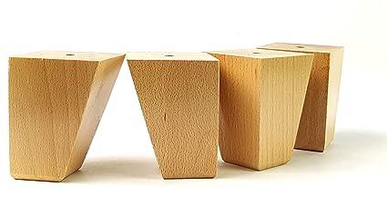 4 x gambe mobili piedi di ricambio in legno massello 100 mm alta per