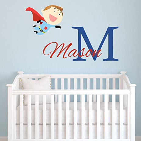 Amazoncom Personalized Superhero Wall Decal Superhero Name - Monogram vinyl wall decals for boys