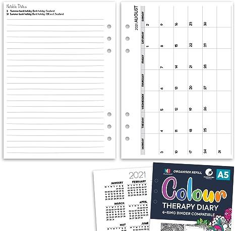 Inserto di ricarica per diario accademico e appunti NBplanner compatibile con Filofax Appuntamenti settimanali