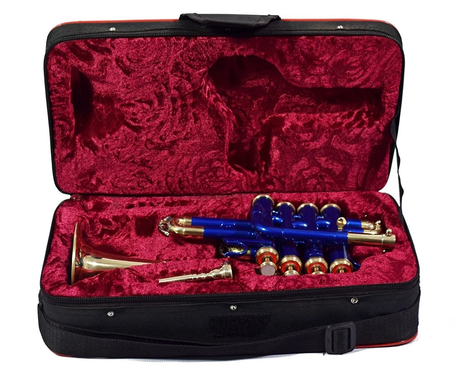 SHREYAS PICCOLO TRUMPET Bb PITCH BLUE COLOR+ BRASS WITH HARD CASE AND MP Shreyas.co