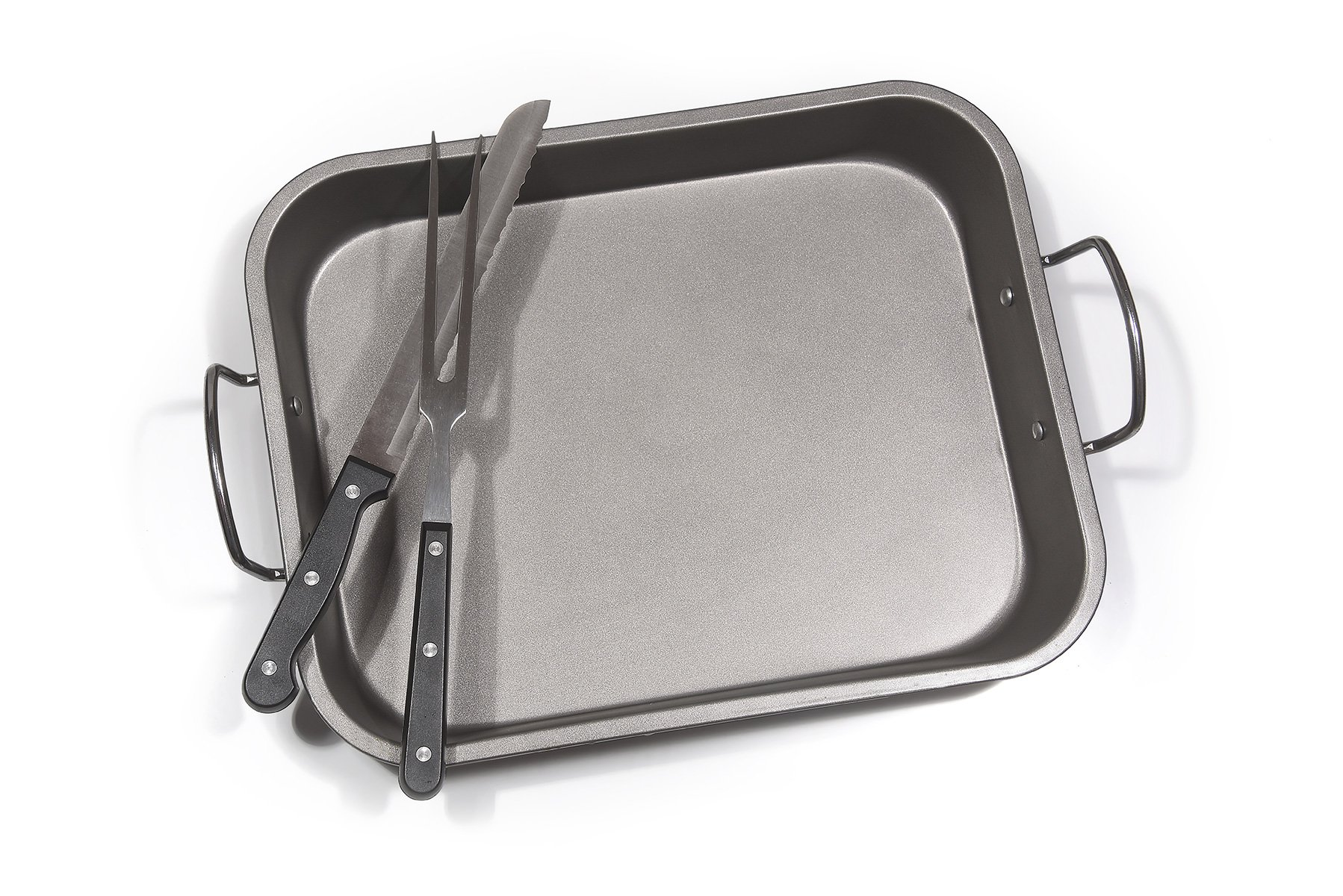 Fox Home Roasting Pan Set , Non-Stick, Carbon Steel Baking Dish With Bonus Serrated Meat Knife, Stainless Steel Fork by FOX HOME (Image #4)