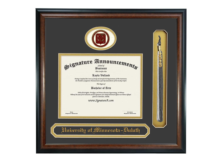 Professional//Doctor Sculpted Foil Seal Signature Announcements University of Minnesota-Duluth Undergraduate Name /& Tassel Graduation Diploma Frame 16 x 16 Matte Mahogany