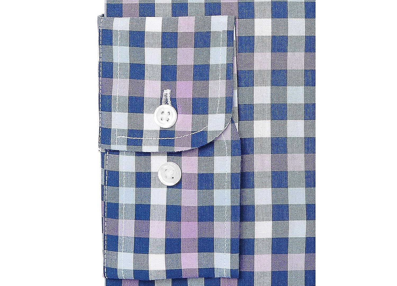 Purple Navy Club Room Mens Regular Fit Performance Multi Gingham Dress Shirt 17 32//33