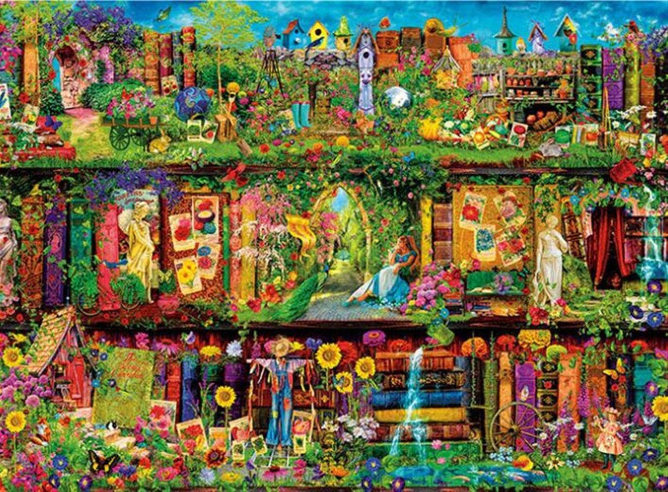 Jouets é ducatifs de puzzle pour les enfants Environ 1000 Piè ces Papier Voir Puzzle É ducation Apprendre Jouet Fantastique Cadeaux (Jardin Coloré ) Honta
