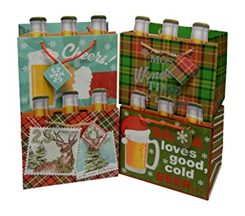 Beer Christmas Gifts.Christmas Gift Bag 6 Pack Beer Tote With Beer Bottle Insert Strong Bag For Beer Or Any Party Favors And