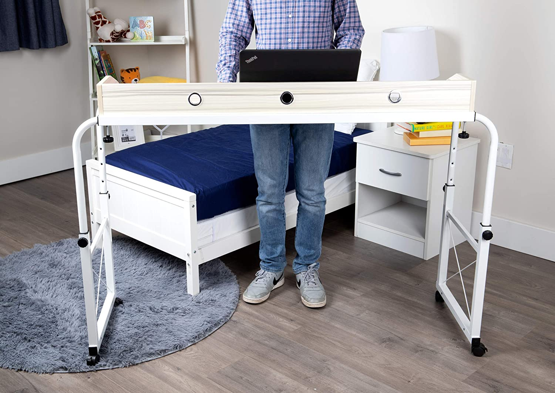 Mind Reader Rolling Adjustable Height Width Desk Laptop Workstation, Over Bed or Couch Table, White