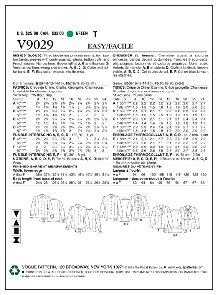 Amazon.com: Vogue Patterns V9029 Misses Blouse Sewing Template, Size B5 (8-10-12-14-16): Arts, Crafts & Sewing