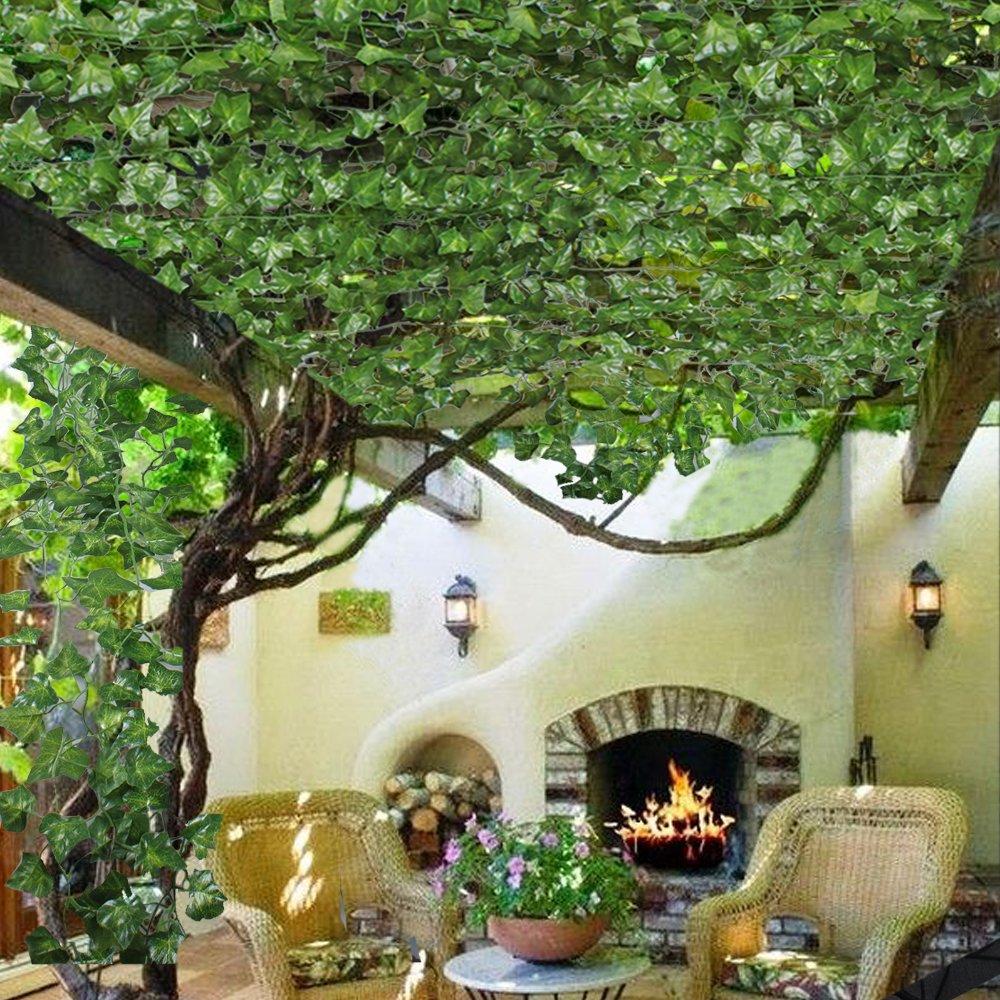 MIHOUNION Plantas colgantes hiedra artificiales 200cm x 12pcs enredaderas artificiales verde hojas de seda guirnalda decorativo, balcón y cerca, ...
