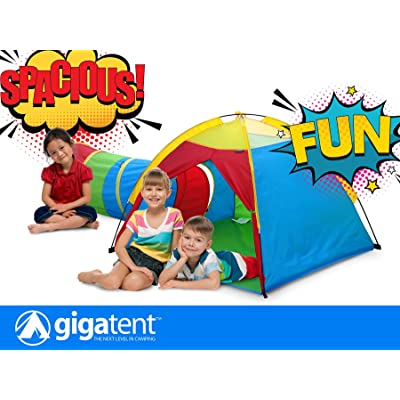 GigaTent Pop up Play Tent and Tunnel for Kids - Indoor & Outdoor for Kids Games in The Summer in The Yard for Outdoor Lawn Games: Toys & Games