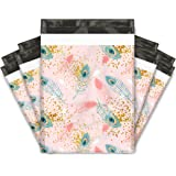 10x13 (100) Pink Peacock Feathers Designer Poly Mailers Shipping Envelopes Premium Printed Bags