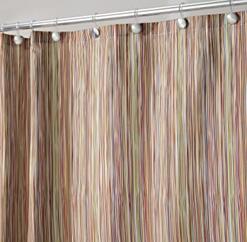 MDesign Thin Stripe Fabric Shower Curtain, 72u0026quot; X 72u0026quot;   Earthtone  Multi