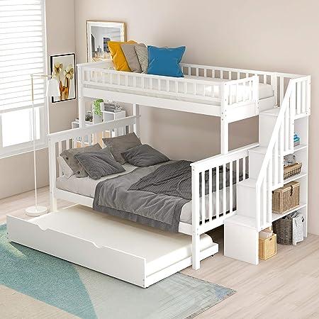Litera doble sobre cama completa con cama nido y escaleras, marco de cama individual y completo WeYoung de madera con rieles de almacenamiento y seguridad: Amazon.es: Hogar