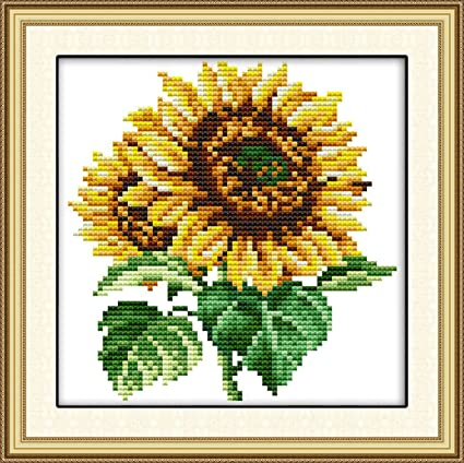 Printed Cross Stitch Kits 14CT 11/×11 inch Embroidery Starter Kits Stamped Cross Stitch Kits Beginners for DIY Embroidery kit (Autumn)