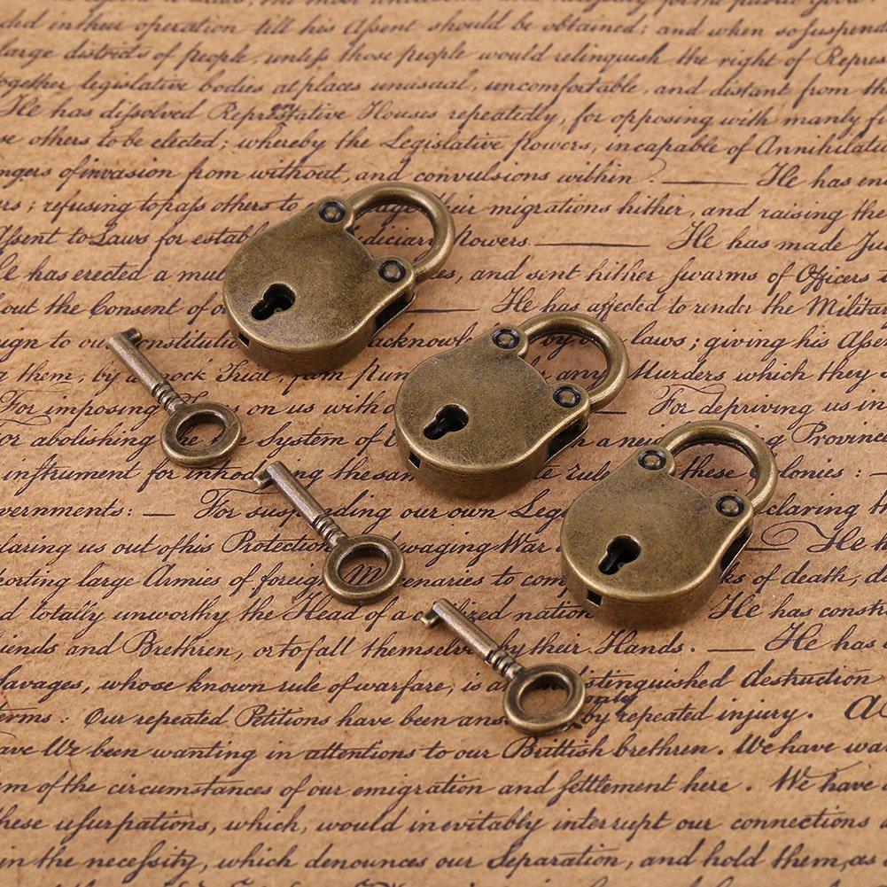 Cadenas avec Cl/és Mini Cadenas de Forme dOurs Cadenas de Style Antique Vintage pour la D/écoration de Sac /à Main