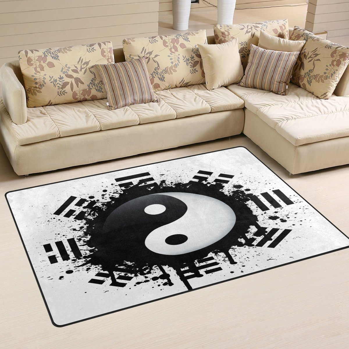 LORVIES Black White Yin Yang Area Rug Carpet Non-Slip Floor Mat Doormats Living Room Bedroom 31 x 20 inches 114