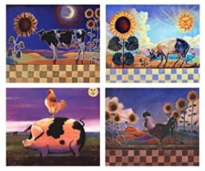 Sunflower and Country Cow and Pig & Rooster Farm Animal Four Set 8x10 Picture Kitchen Wall Decor Art Print Posters