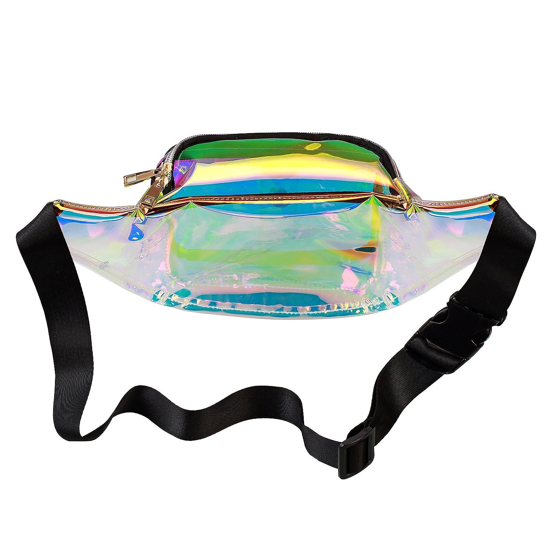 Shiny Neon Fanny Bag for Women Rave Festival Hologram Bum Travel Waist Pack
