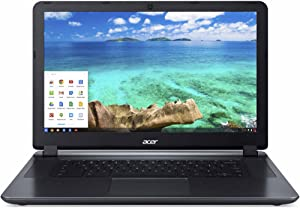 Acer Chromebook 15.6-inch Laptop (Intel Dual-Core 2.41GHz Processor, 2GB RAM, 16GB SSD, Google Chrome OS) Black (Renewed)