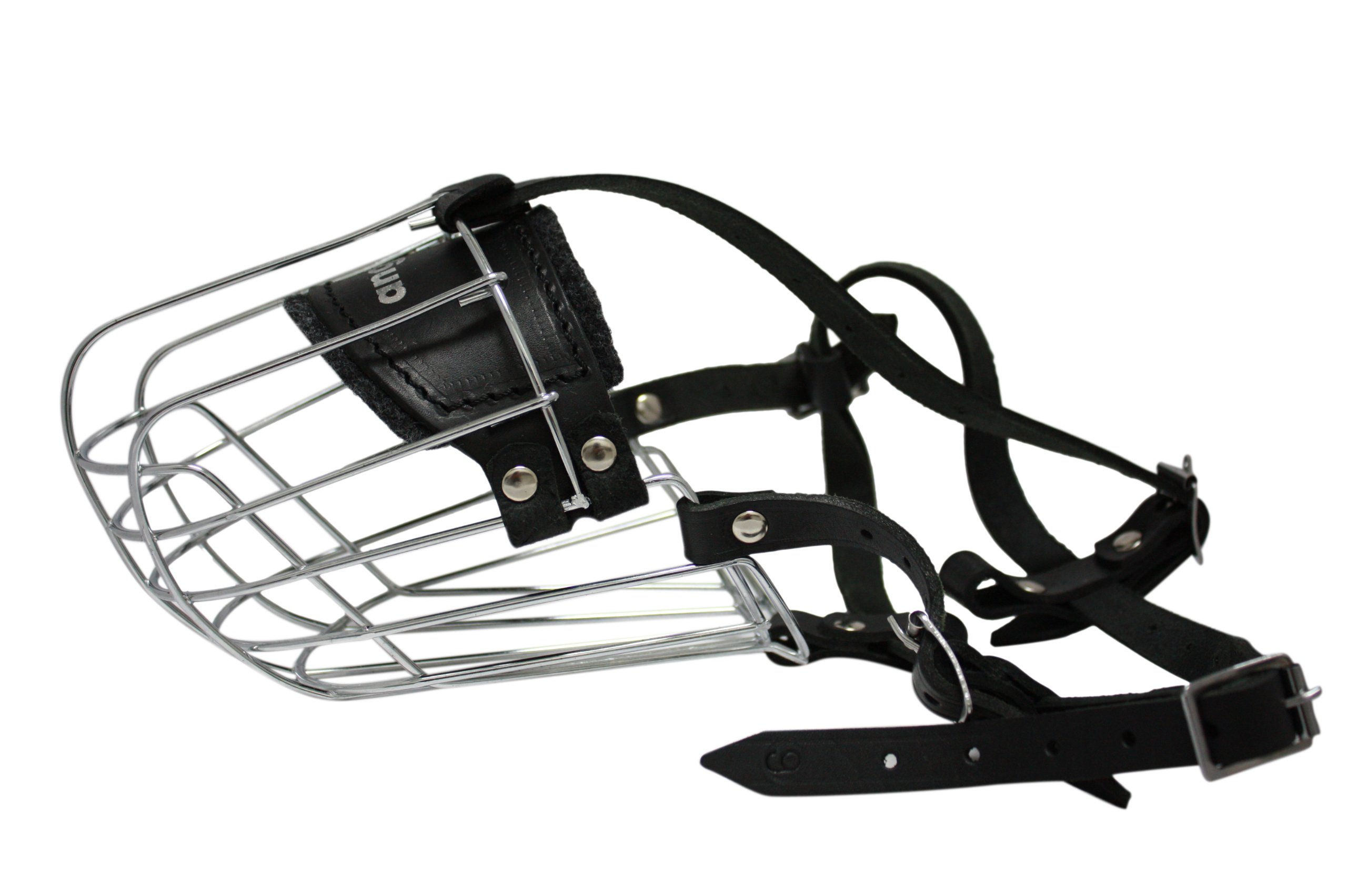 Wire Cage & Leather Muzzle (Miami). Size 9, Black. 13.75'' circumference, 5'' length. Best fits: German Shepherds, Labradors, Alaskan Malamutes