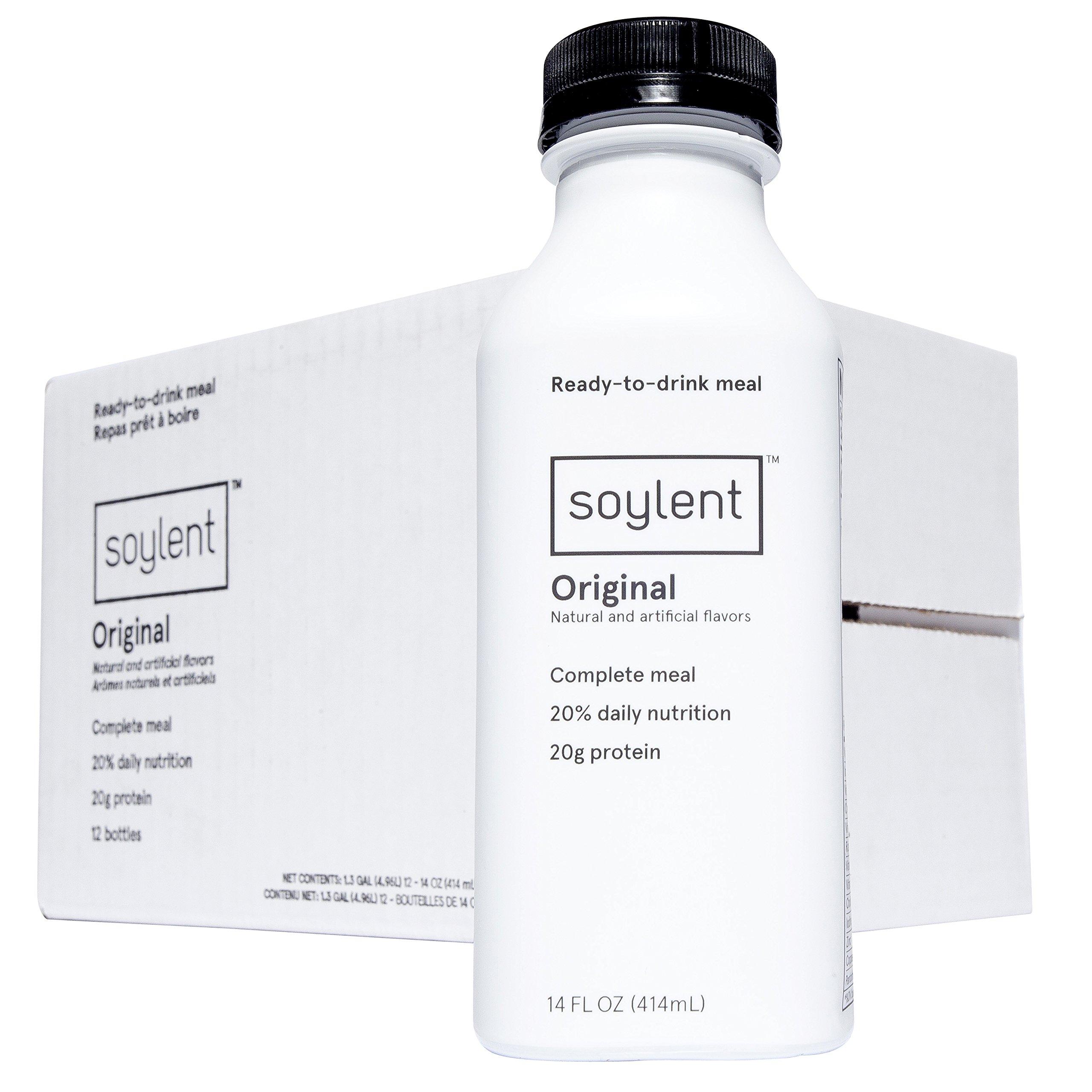 Soylent Meal Replacement Drink, Original, 14 oz Bottles, 12 Pack