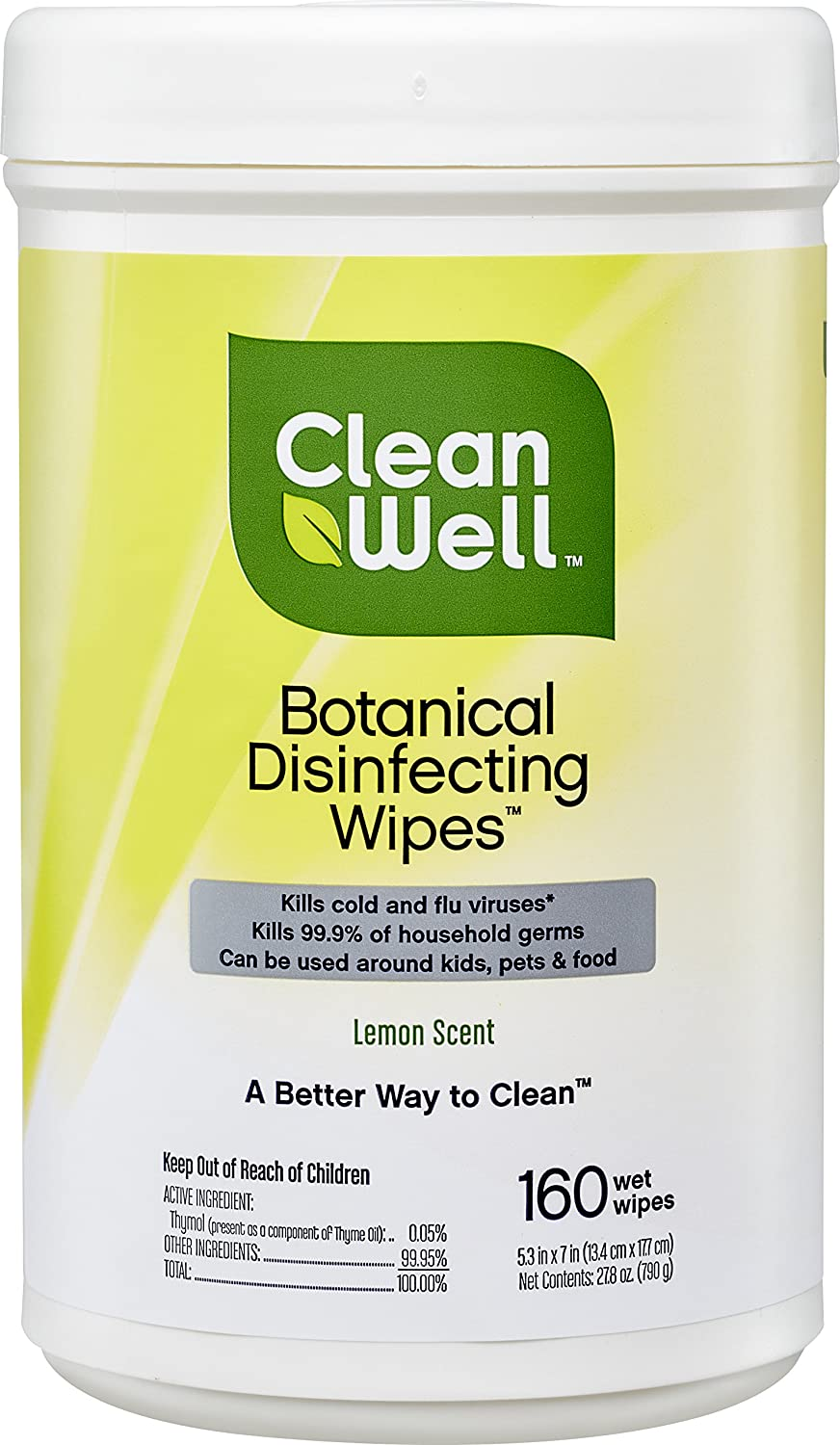 Cleanwell Botanical Disinfecting Wipes Lemon 160 Count 1 Pk Bleach Free Antibacterial Kid Pet Friendly Plant Based Nontoxic Cruelty Free